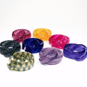 Silk and acrylic bangles