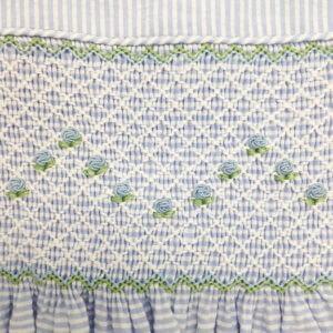 Blue and White Striped Seersucker Dress