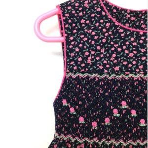 Pink Rosebuds on Navy Dress