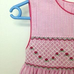 Pink and White Striped Cotton Seersucker Dress