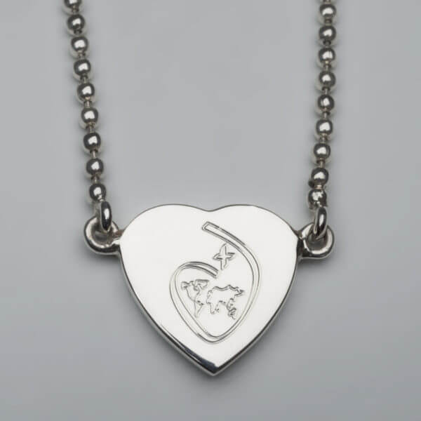 ISSH sterling silver heart pendant on fixed bead chain 800x800 pixels
