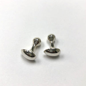 Sterling Silver Egg-Shaped Cuff Links