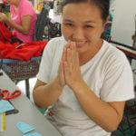 seamstress at Fatima Centre sewing workshop