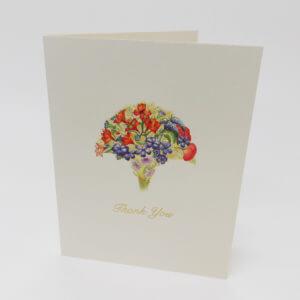 Paula Skene Designs Orange and Blue Bouquet 'Thank You' note card