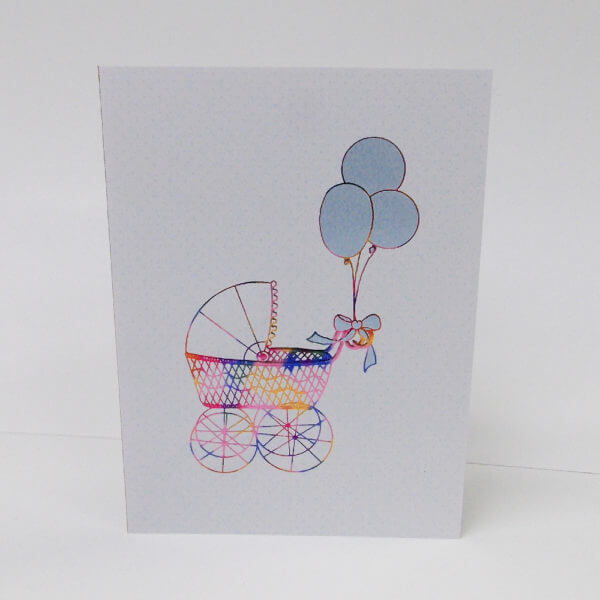 Blue baby buggy card