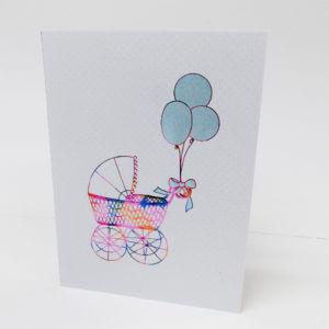 Paula Skene Designs Blue Baby Buggy card