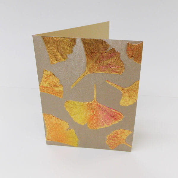 Gingko leaves note card bronze scaled