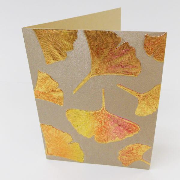 Gingko leaves note card bronze II