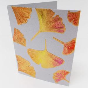 Paula Skene Designs gingko leaves note card – pewter