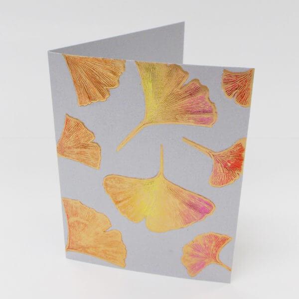 Gingko leaves note card pewter III