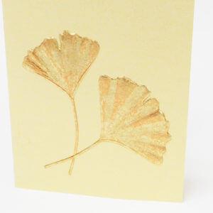 Paula Skene Designs Gingko Leaves Pair on Gold note card