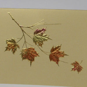 Paula Skene Designs Maple Leaf Cluster on Gold note card