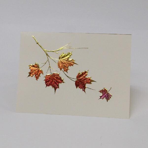 maple leaves cluster gold on ecru 1000 pixels