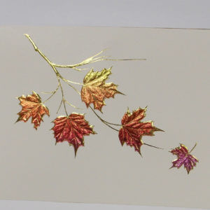 Paula Skene Designs Maple Leaf Cluster on ecru note card