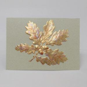 Paula Skene Designs gold foil embossed oak leaves on moss green note card