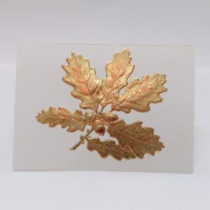 Paula Skene Designs gold foil embossed oak leaves on ecru note card