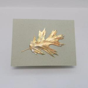 Paula Skene Designs gold foil embossed single oak leaf on moss note card