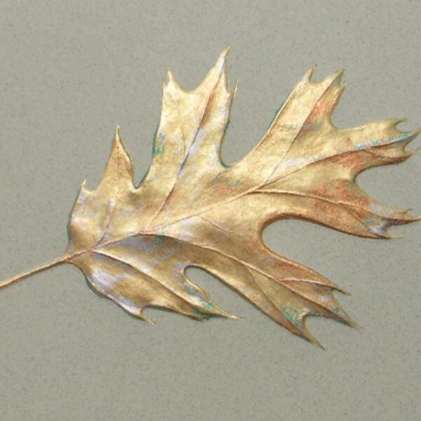 Gold oak leaf on moss card closeup1000 pixels
