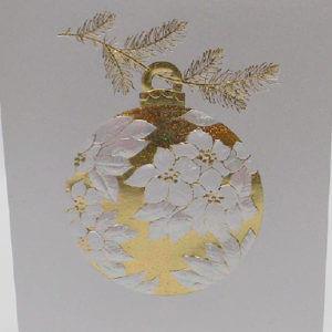 Paula Skene Designs white and gold Poinsettia ornament Christmas card