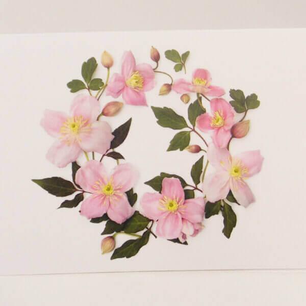 Clematis wreath note card 1000 pixels II 2